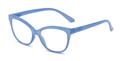 Angle of The Farrah in Cornflower Blue, Women's Cat Eye Reading Glasses