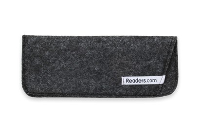 Angle of The Felt Reading Glasses Pouch in Dark Grey, Women's and Men's  Soft Cases / Pouches