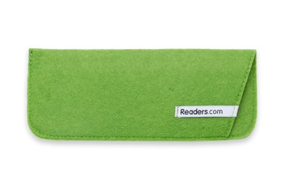 Angle of The Felt Reading Glasses Pouch in Green, Women's and Men's  Soft Cases / Pouches