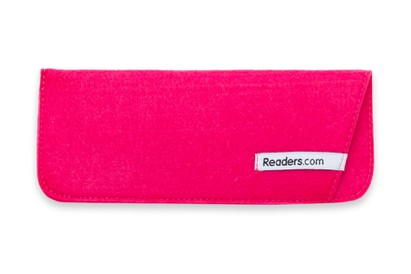 Angle of The Felt Reading Glasses Pouch in Pink, Women's and Men's  Soft Cases / Pouches