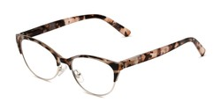 Angle of The Francine in Blush/Brown Tortoise, Women's Cat Eye Reading Glasses
