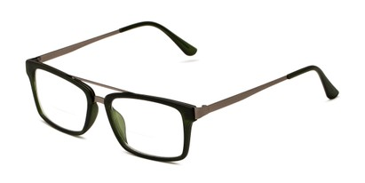 Angle of The Fulham Bifocal in Matte Olive Green, Men's Rectangle Reading Glasses