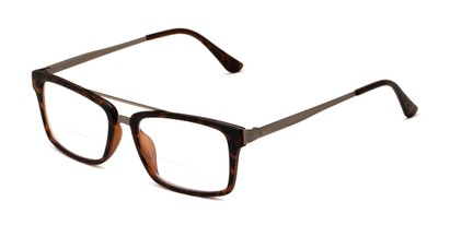 Angle of The Fulham Bifocal in Matte Brown Tortoise, Men's Rectangle Reading Glasses