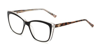 Angle of The Gloria in Black/Leopard, Women's Cat Eye Reading Glasses