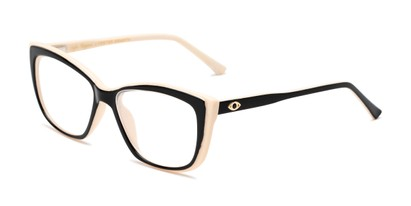 Angle of The Gloria in Black/Tan, Women's Cat Eye Reading Glasses