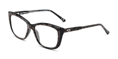 Angle of The Gloria in Grey/Leopard, Women's Cat Eye Reading Glasses