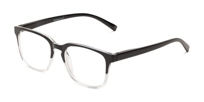 Angle of The Governor Bifocal in Black/ Clear, Women's and Men's Retro Square Reading Glasses