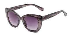 Angle of The Harper Bifocal Reading Sunglasses in Grey Stripe with Gradient Smoke, Women's Cat Eye Reading Sunglasses