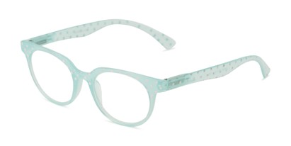 Angle of The Heidi in Mint Green Sparkle Dot, Women's Round Reading Glasses