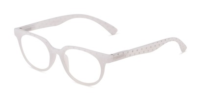 Angle of The Heidi in White Sparkle Dot, Women's Round Reading Glasses
