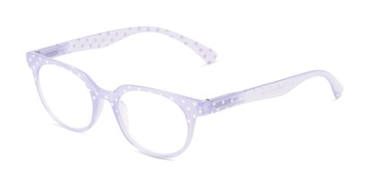 Angle of The Heidi in Light Purple Sparkle Dot, Women's Round Reading Glasses