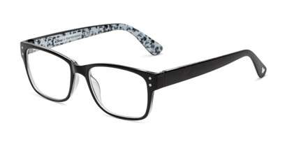 Angle of The Iconic in Black, Mickey Mouse Print, Women's and Men's Rectangle Reading Glasses