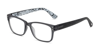 Angle of The Iconic in Matte Grey, Mickey Mouse Print, Women's and Men's Rectangle Reading Glasses
