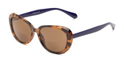 Angle of The Jenny Bifocal Reading Sunglasses in Tortoise & Indigo/ Amber, Women's Square Reading Sunglasses