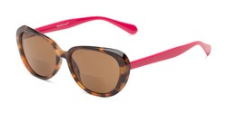 Angle of The Jenny Bifocal Reading Sunglasses in Tortoise & Hot Pink /Amber, Women's Square Reading Sunglasses