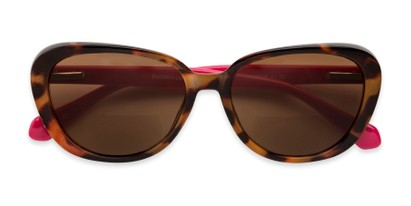 Folded of The Jenny Bifocal Reading Sunglasses in Tortoise & Hot Pink /Amber