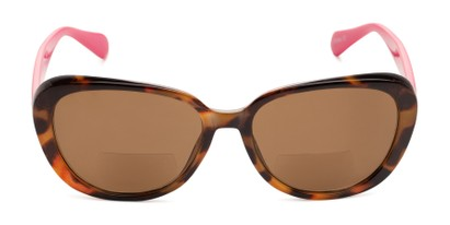 Front of The Jenny Bifocal Reading Sunglasses in Tortoise & Hot Pink /Amber