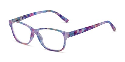Angle of The Karlie in Purple Geo Print, Women's Rectangle Reading Glasses