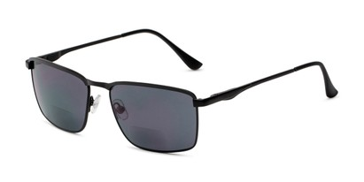 Angle of The Ken Bifocal Reading Sunglasses in Matte Black with Smoke, Men's Rectangle Reading Sunglasses