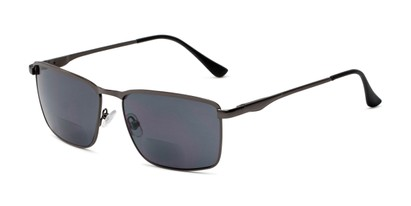 Angle of The Ken Bifocal Reading Sunglasses in Matte Grey with Smoke, Men's Rectangle Reading Sunglasses