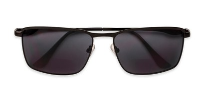 Folded of The Ken Bifocal Reading Sunglasses in Matte Black with Smoke