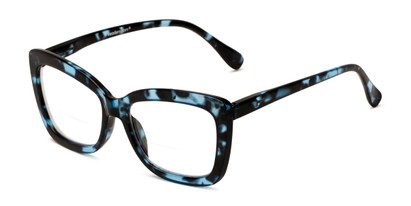 Angle of The Kendra Bifocal in Blue Tortoise, Women's Cat Eye Reading Glasses
