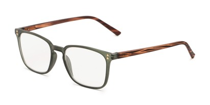 Angle of The Landry in Matte Olive Green/ Brown Stripe, Women's and Men's Square Reading Glasses