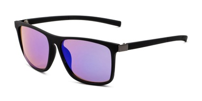 Angle of The Larimore Reading Sunglasses in Matte Black with Blue/Green Mirror, Men's Rectangle Reading Sunglasses