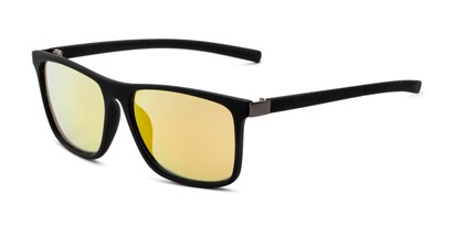 Angle of The Larimore Reading Sunglasses in Matte Black with Yellow Mirror, Men's Rectangle Reading Sunglasses