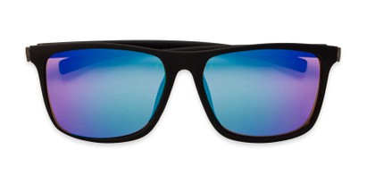 Folded of The Larimore Reading Sunglasses in Matte Black with Blue/Green Mirror