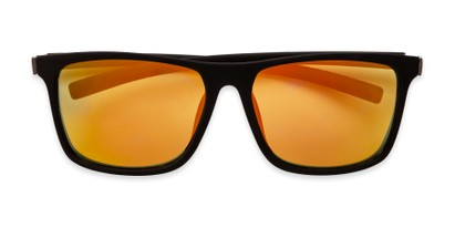 Folded of The Larimore Reading Sunglasses in Matte Black with Yellow Mirror