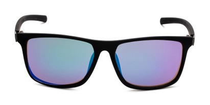Front of The Larimore Reading Sunglasses in Matte Black with Blue/Green Mirror
