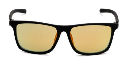 Front of The Larimore Reading Sunglasses in Matte Black with Yellow Mirror