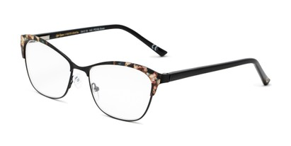 Angle of The Laura in Black/Brown, Women's Cat Eye Reading Glasses