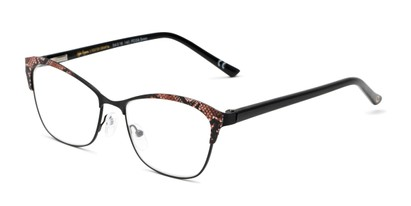 Angle of The Laura in Black/Taupe, Women's Cat Eye Reading Glasses