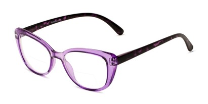 Angle of The Lesley Bifocal in Purple/Tortoise, Women's Cat Eye Reading Glasses