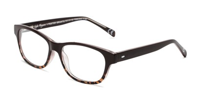 Angle of The Linda in Brown/Leopard, Women's Rectangle Reading Glasses