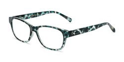 Angle of The Linda in Teal/Tortoise, Women's Rectangle Reading Glasses