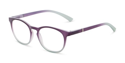 Angle of The Lindley Blue Light Reader in Purple/Blue Fade, Women's Round Computer Glasses