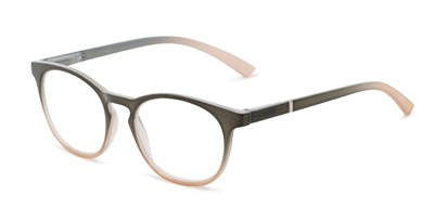 Angle of The Lindley Blue Light Reader in Green/Tan Fade, Women's Round Computer Glasses