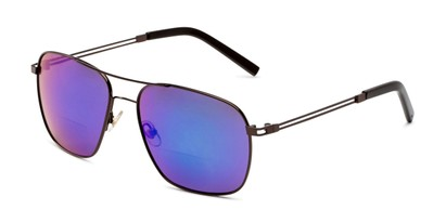 Angle of The Manny Bifocal Reading Sunglasses in Bronze with Blue/Green Mirror, Men's Aviator Reading Sunglasses