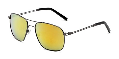 Angle of The Manny Bifocal Reading Sunglasses in Grey with Yellow Mirror, Men's Aviator Reading Sunglasses