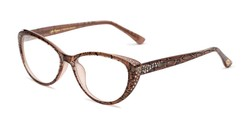 Angle of The Marisol in Tan/Snake, Women's Cat Eye Reading Glasses