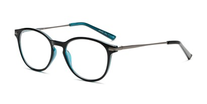 Angle of The McKay Multi Focus Reader by Foster Grant in Black, Women's and Men's Round Reading Glasses