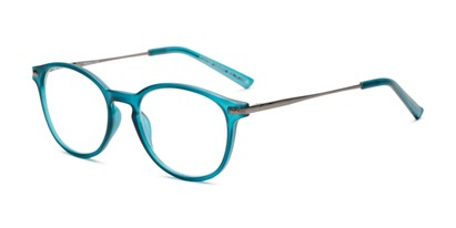 Angle of The McKay Multi Focus Reader by Foster Grant in Teal Blue, Women's and Men's Round Reading Glasses