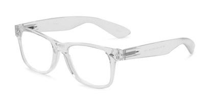 Angle of The Mooresville in Clear, Women's and Men's Retro Square Reading Glasses
