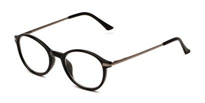 Angle of The Petula in Black, Women's Round Reading Glasses