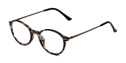 Angle of The Petula in Tan Tortoise, Women's Round Reading Glasses