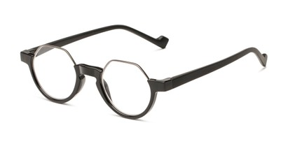 Angle of The Piccadilly in Black, Women's and Men's Round Reading Glasses