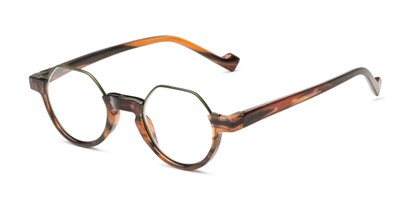 Angle of The Piccadilly in Brown Stripe, Women's and Men's Round Reading Glasses